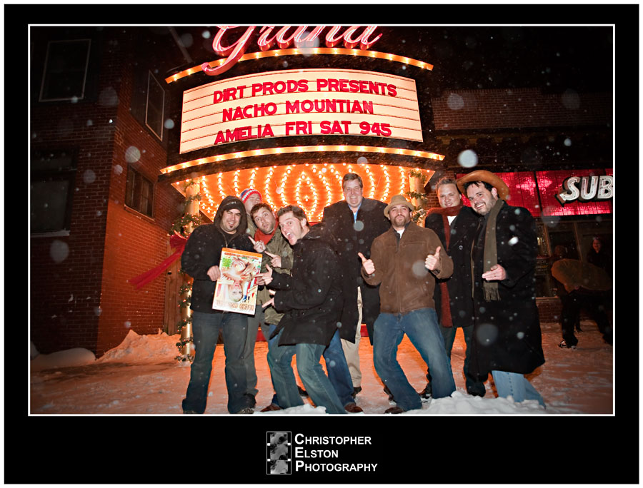 Cast and crew in the snow